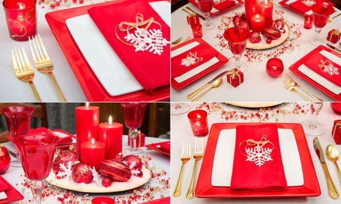 Decorar mesa de navidad en blanco rojo y dorado hogarmania - Decorar mesas navidenas ...