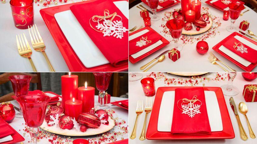 decorar mesa de navidad en blanco rojo y dorado
