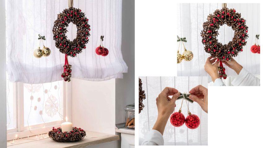 Decorar ventana con coronas y velas para navidad hogarmania for Como adornar ventanas y puertas de navidad