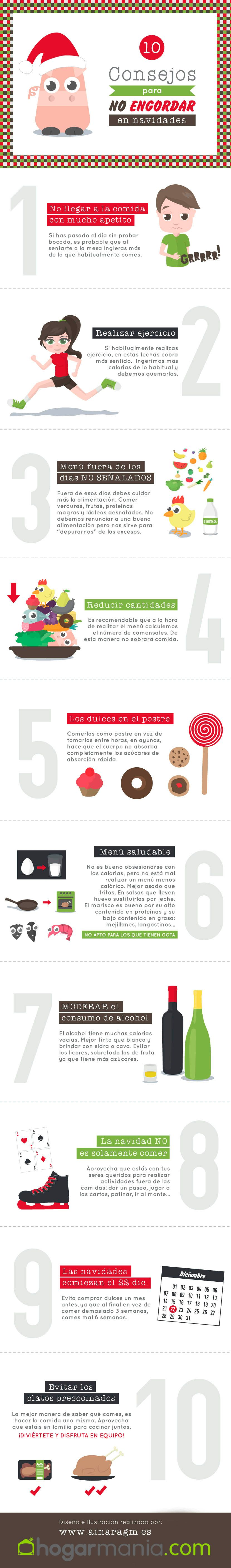 infografia consejos engordar navidad