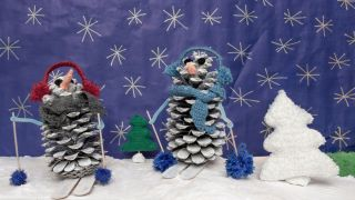 Muñeco de nieve con piña para decorar en Navidad