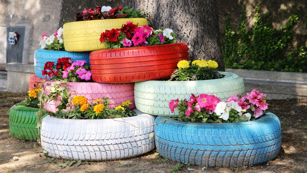 Reciclar neumáticos para el jardín - Bricomanía