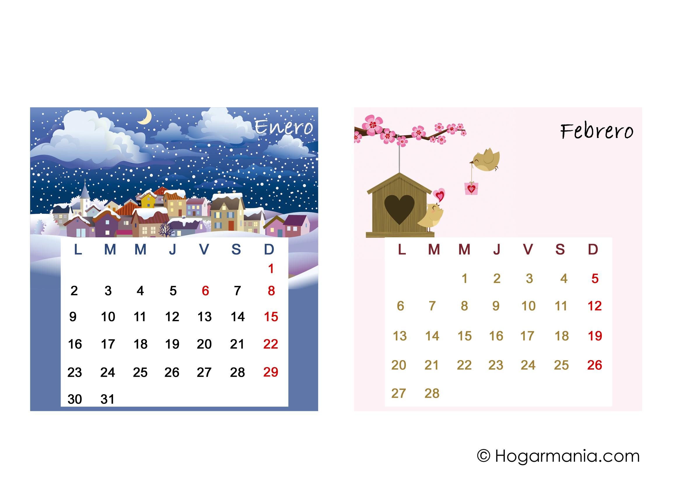 Calendario De Mesa Del 2017 Para Descargar Enero Y Febrero