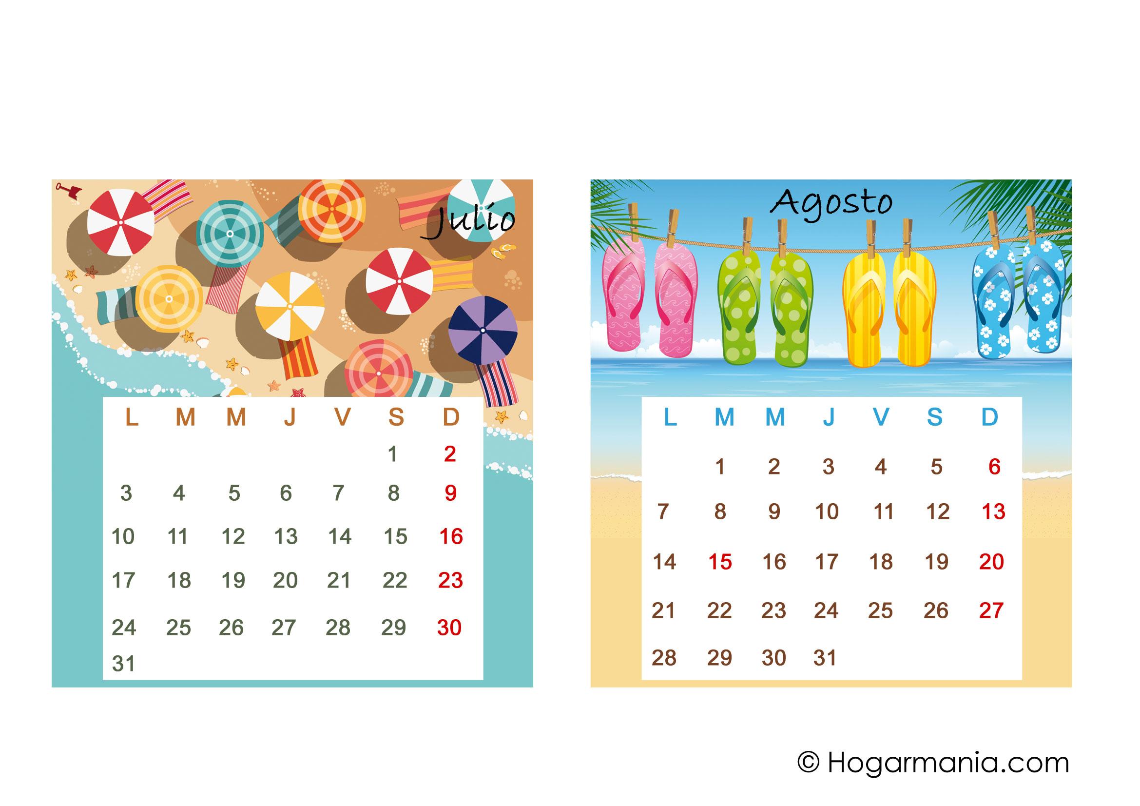 Calendario De Mesa Del 2017 Para Descargar Julio Y Agosto En
