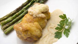receta de muslos de pollo rellenos de jamón y queso