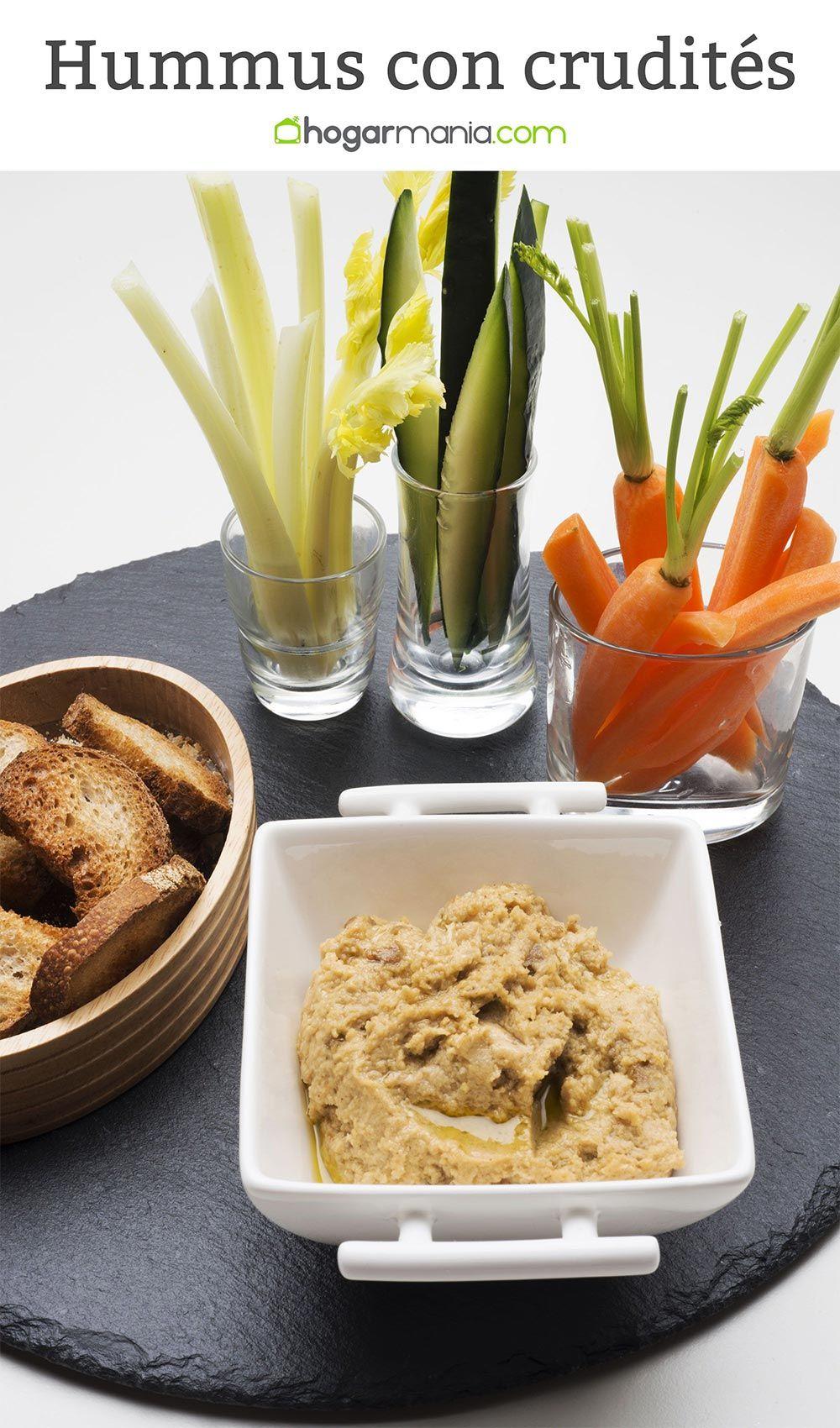 Hummus con zanahoria, pepino y apio