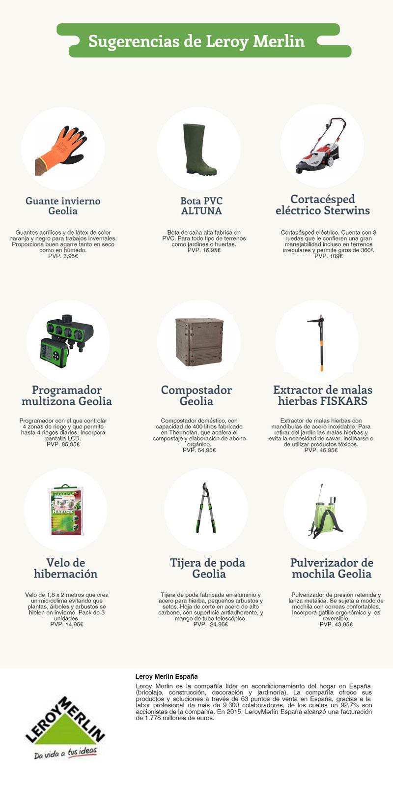 Infografía con materiales y herramientas para preparar el jardín en invierno