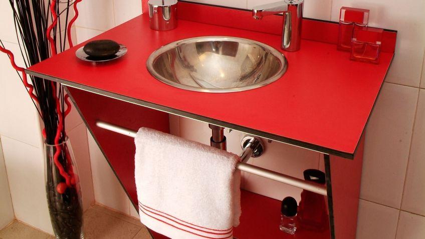 Mueble rojo para lavabo - Bricomanía