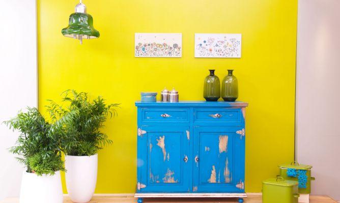 Artesanato E Reciclagem Com Garrafa Pet ~ Aparador azul de aspecto envejecido Decogarden