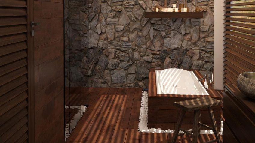 madera y piedra para decorar el bao