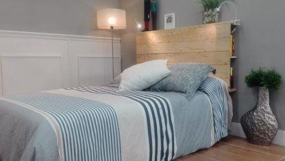 C mo hacer una l mpara con una viga de madera bricoman a for Reciclar una cama de madera