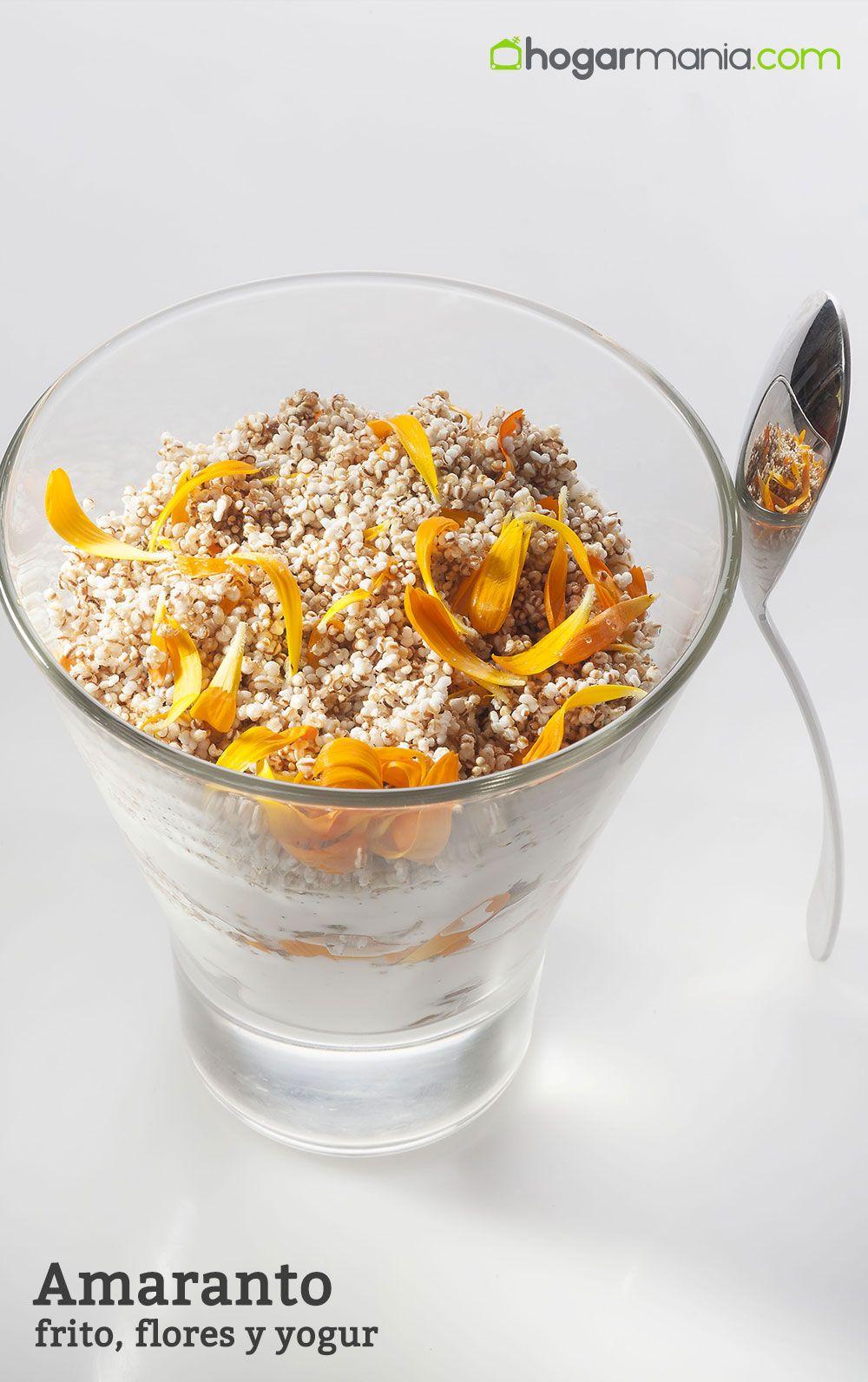 Amaranto frito, flores y yogur