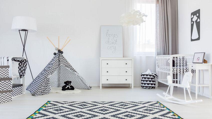 decoracin infantil minimalista en blanco y negro