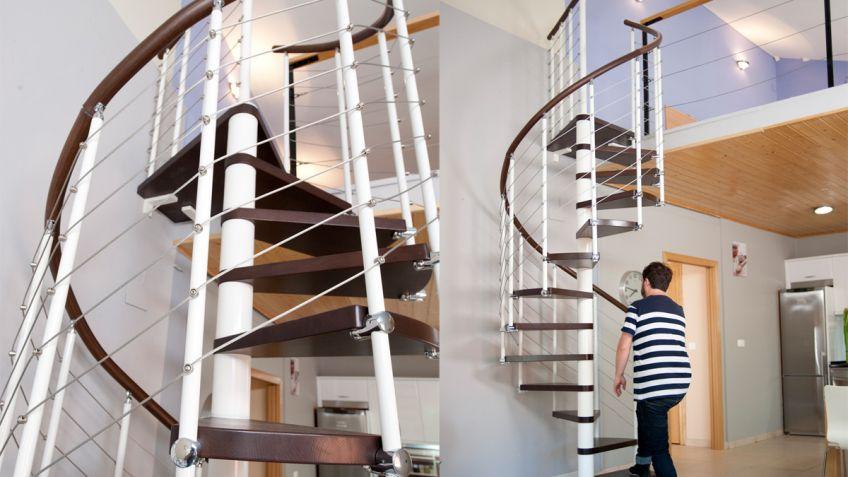 escaleras de caracol de madera para interiores