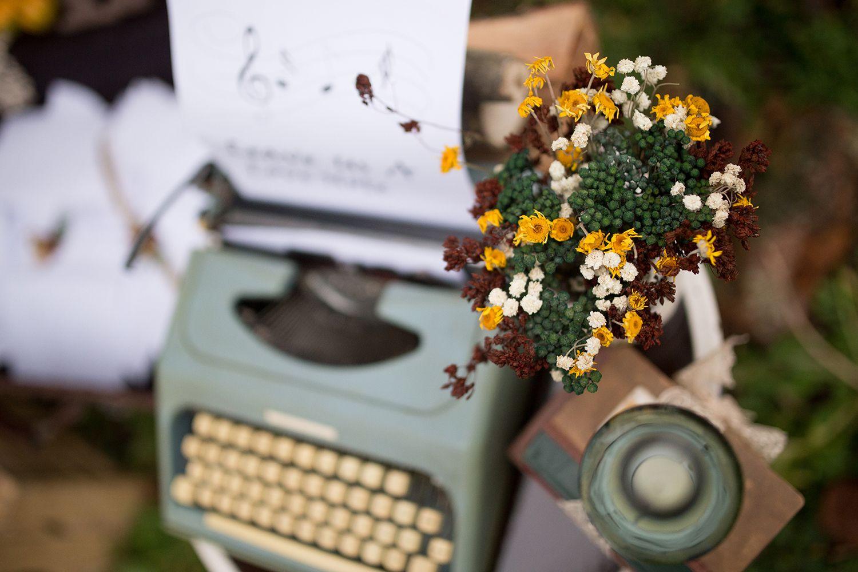 Máquina de escribir boda vintage