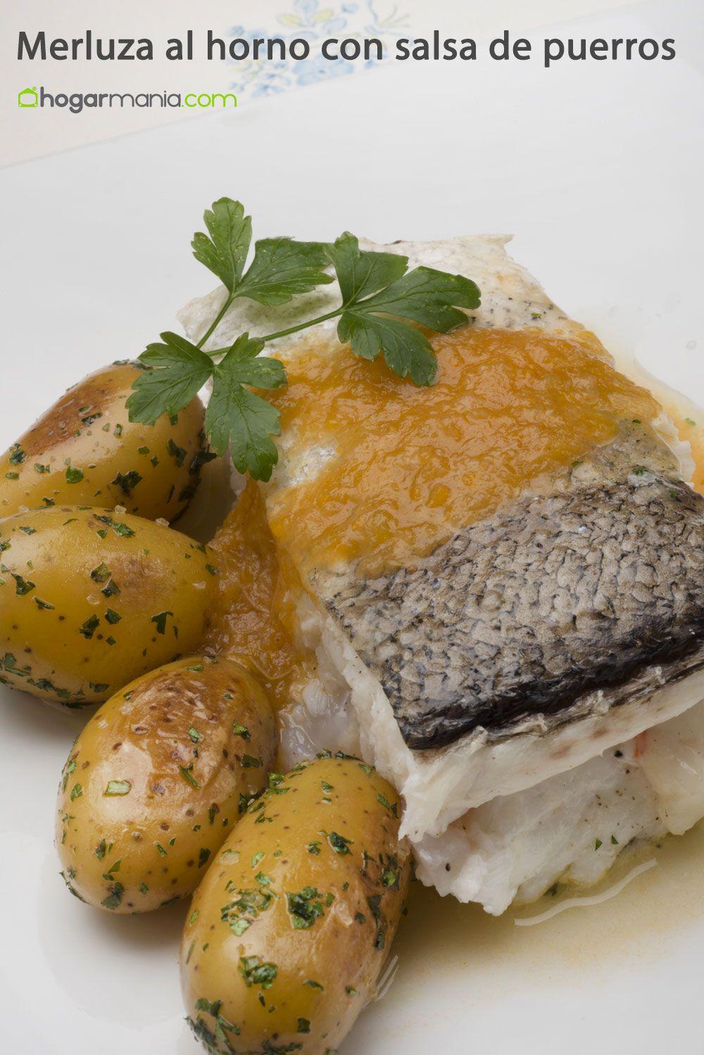 Receta de merluza al horno con salsa de puerros karlos - Merluza rellena de marisco al horno ...