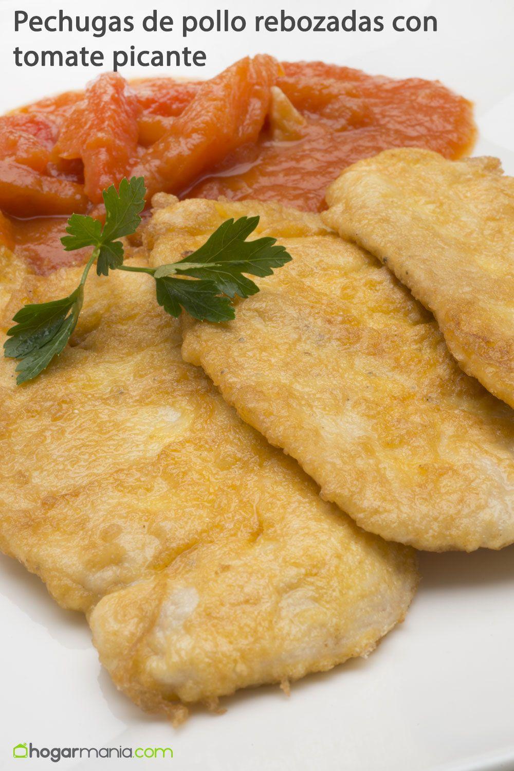 Pechugas de pollo rebozadas con tomate picante