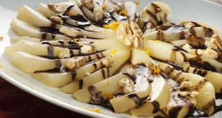 Peras al falso chocolate