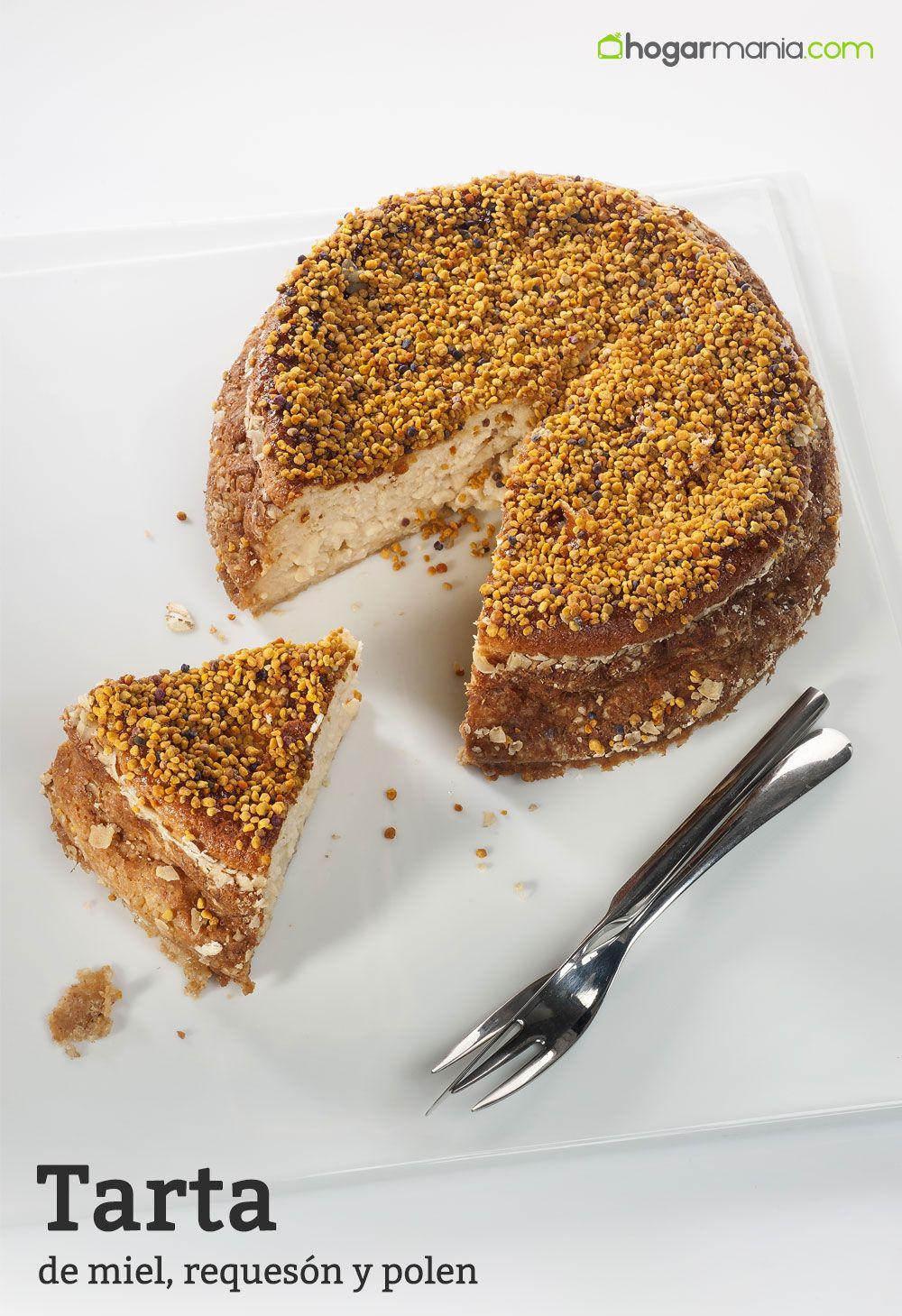 Tarta de miel, requesón y polen