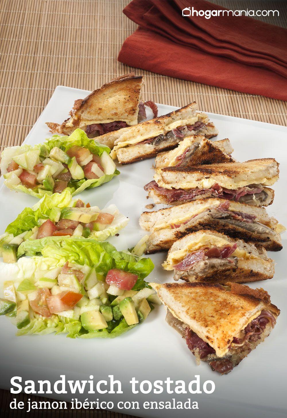 Sandwich tostado de jamón ibérico con ensalada