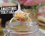 Sopa de langostinos con teriyaki