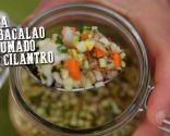 Sopa de bacalao ahumado con cilantro