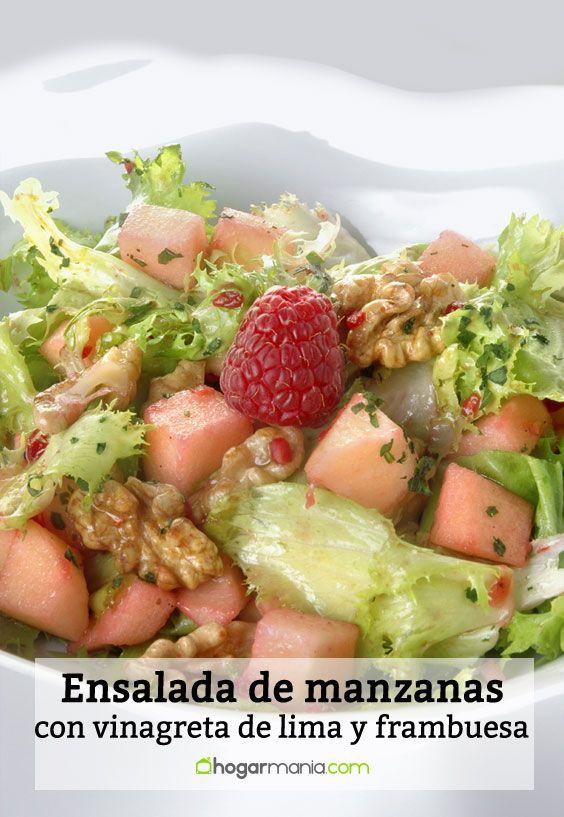 Ensalada de manzanas con vinagreta de lima y frambuesa