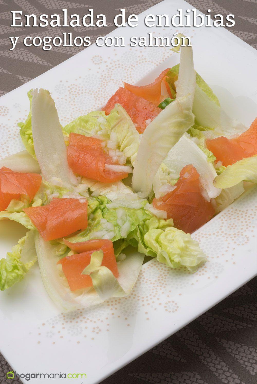 ensalada endibias y cogollos con salmón
