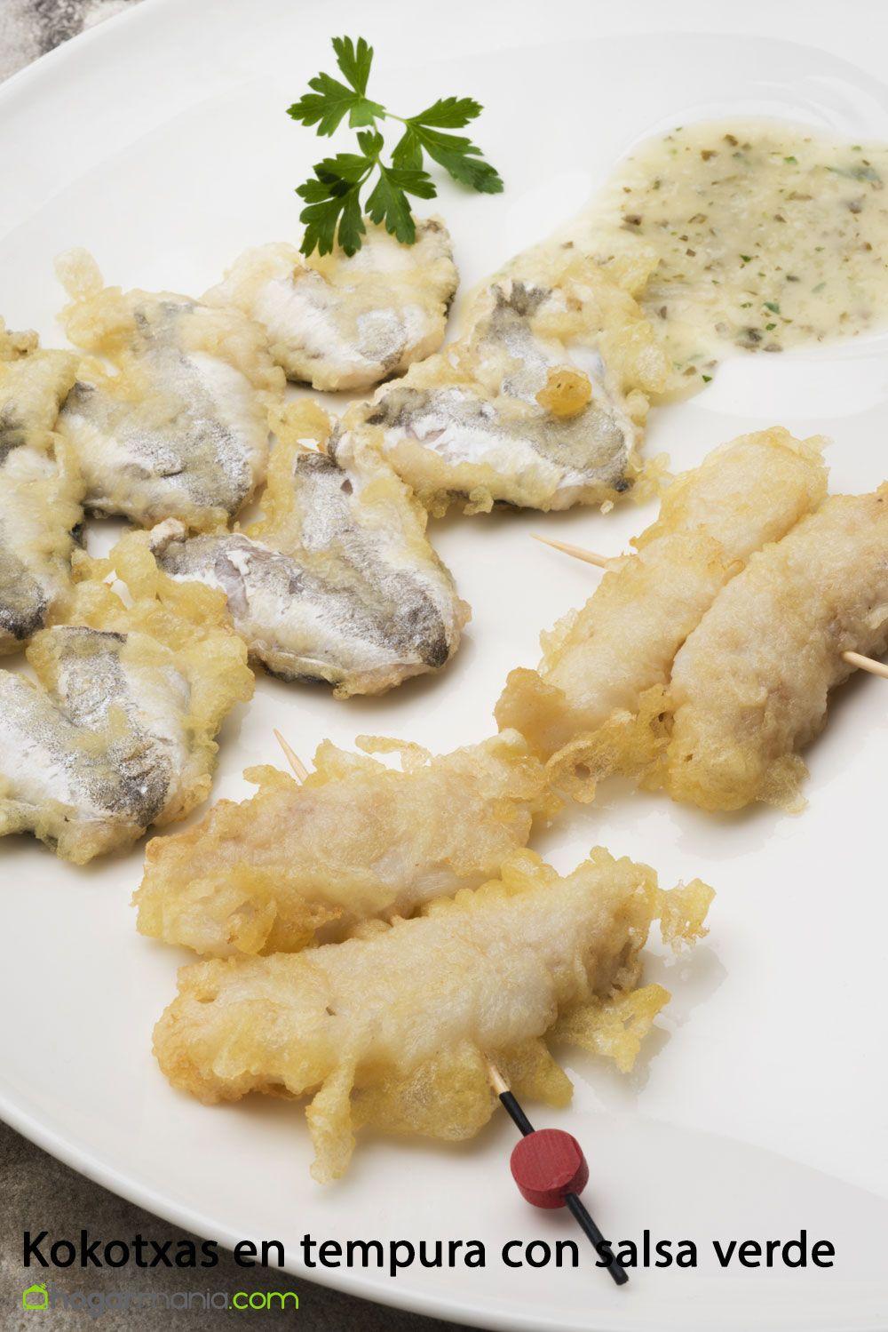 Kokotxas en tempura con salsa verde