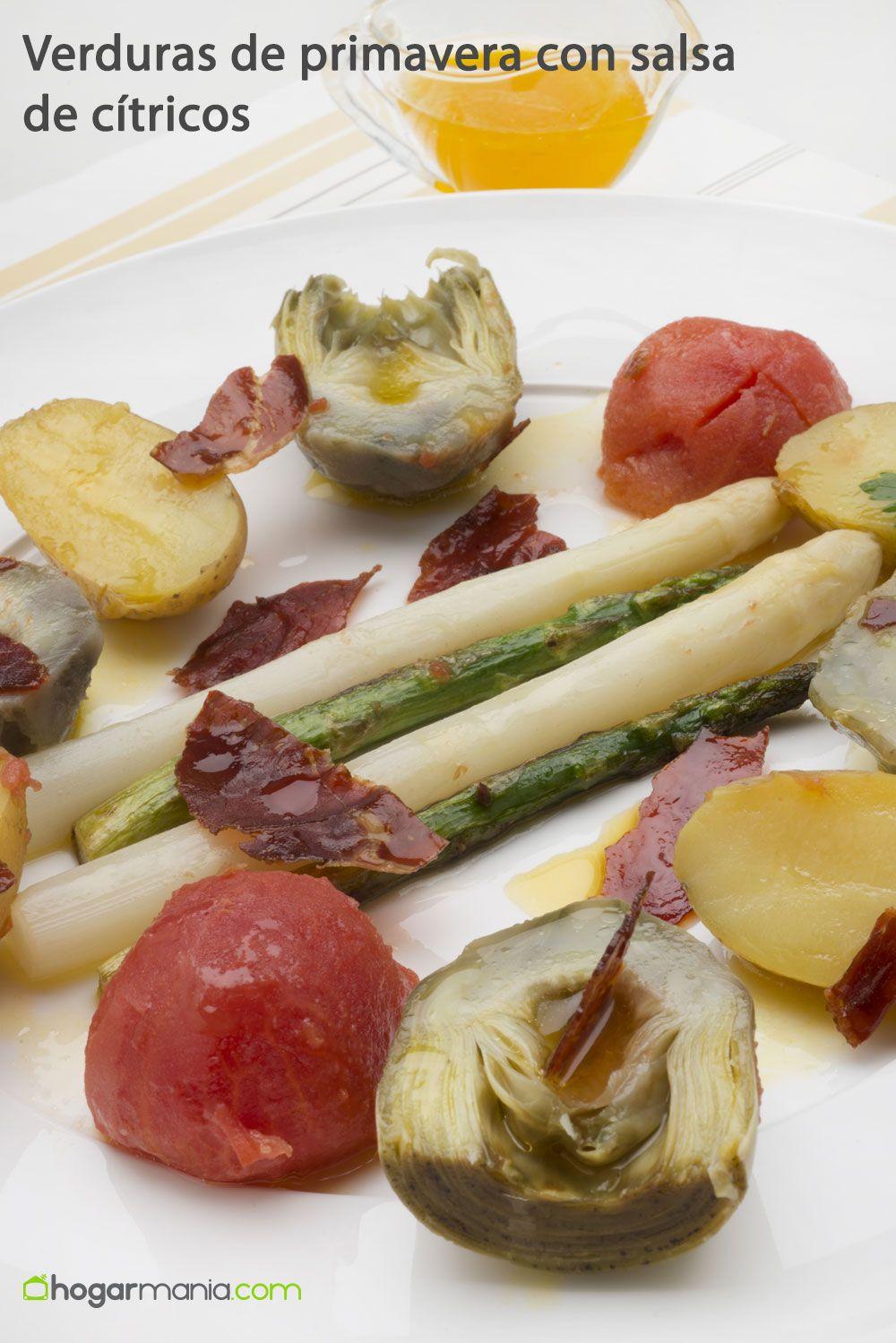 Verduras de primavera con salsa de cítricos
