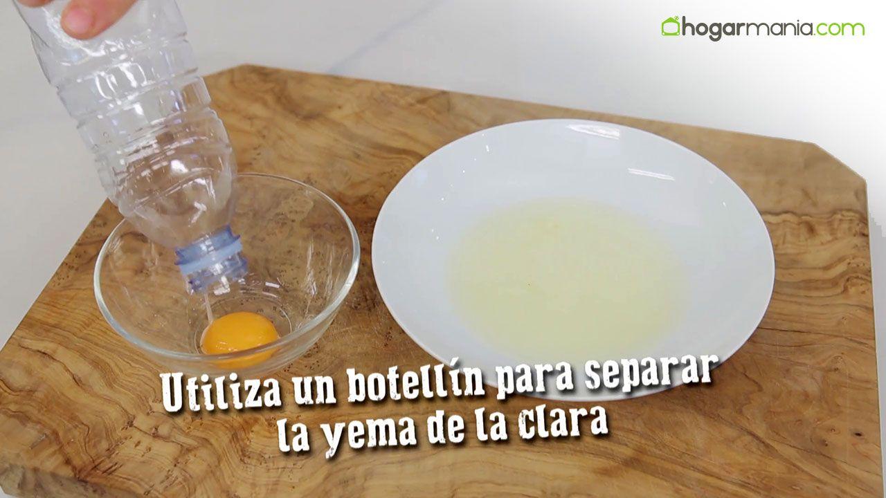 ¿Cómo separar la yema y la clara de huevo con un botellín?