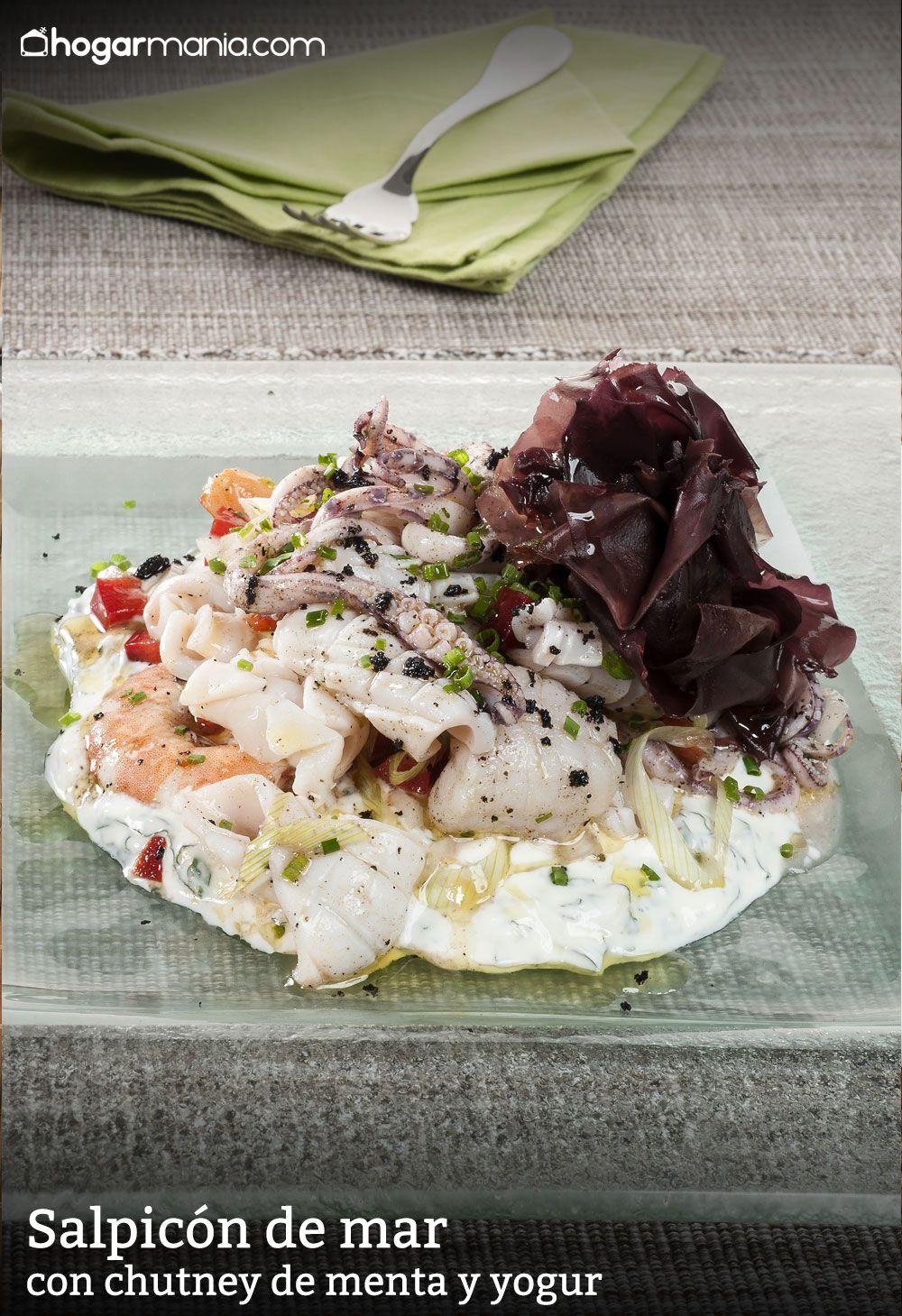 Salpicón de mar con chutney de menta y yogur