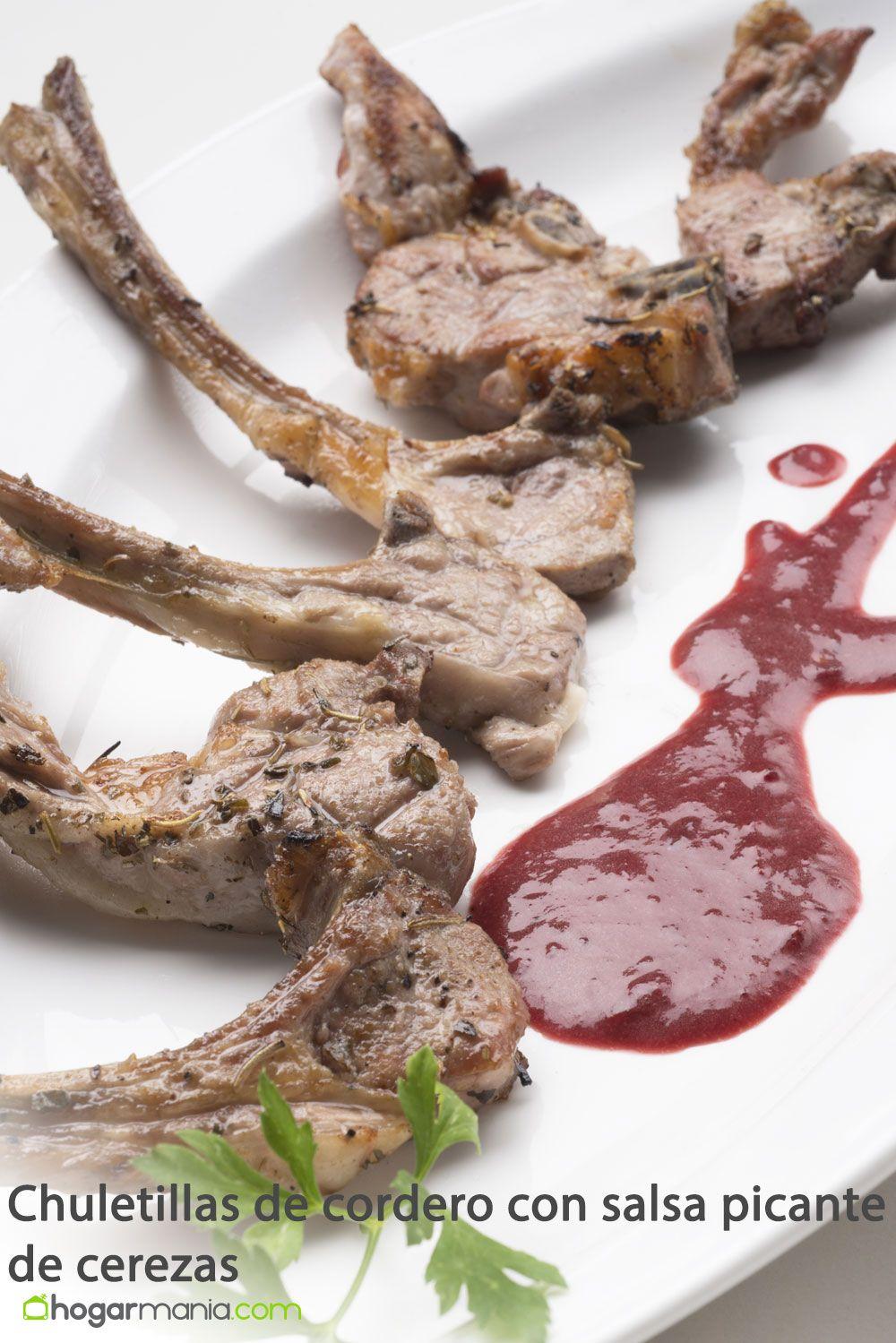 chuletillas de cordero con salsa picante de cerezas
