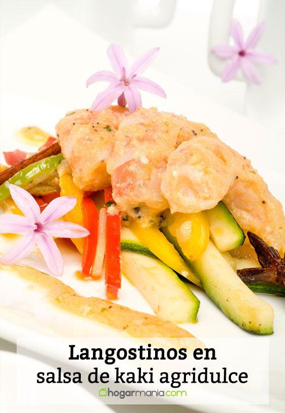 Receta de Langostinos en salsa de kaki agridulce