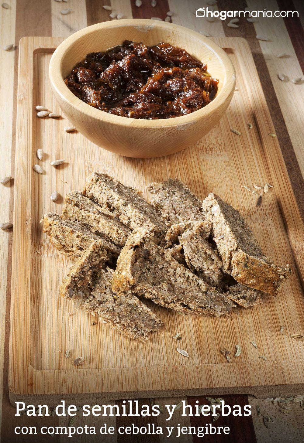 Pan de semillas y hierbas con compota de cebolla y jengibre