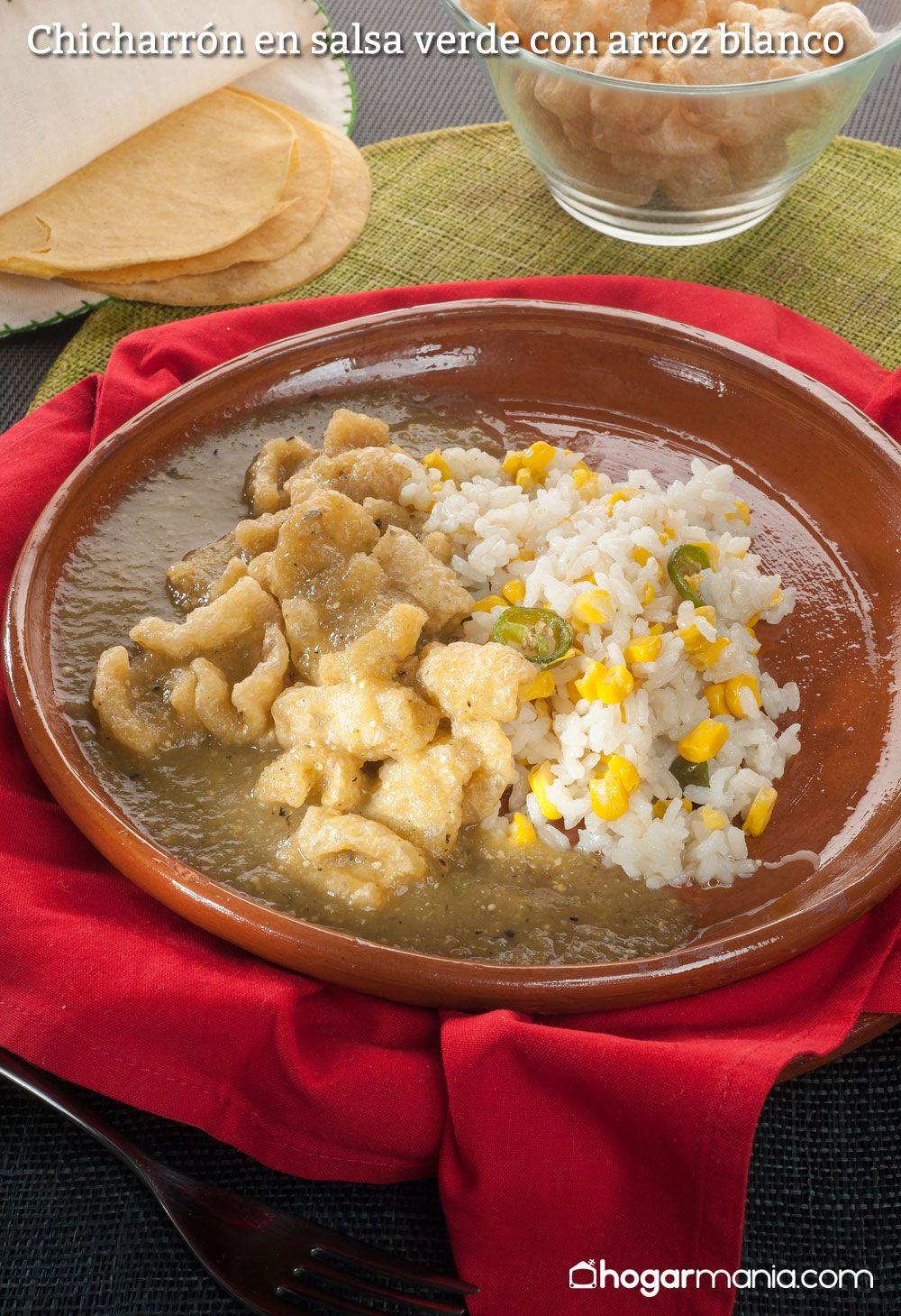 Chicharrón en salsa verde con arroz blanco
