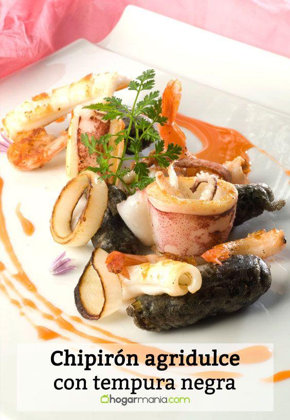 Receta de Chipirón agridulce con tempura negra