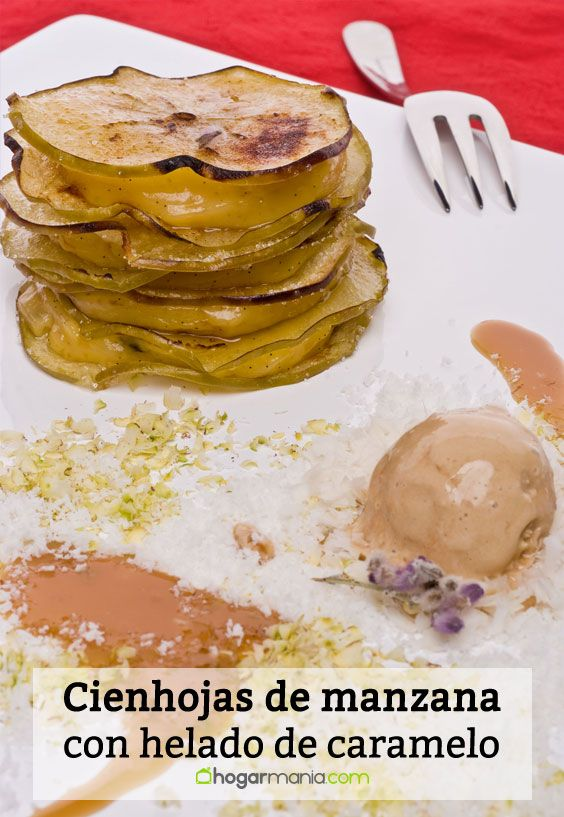 Receta de Cienhojas de manzana con helado de caramelo