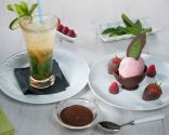 Y de postre: Sorbete de mojito y helado de frambuesa y fresa