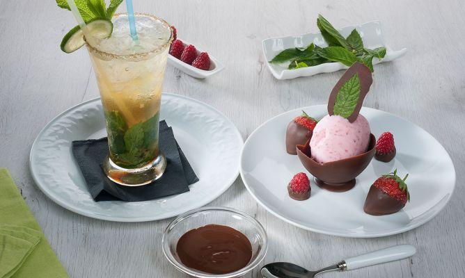 Receta de Sorbete de mojito y helado de frambuesa y fresa
