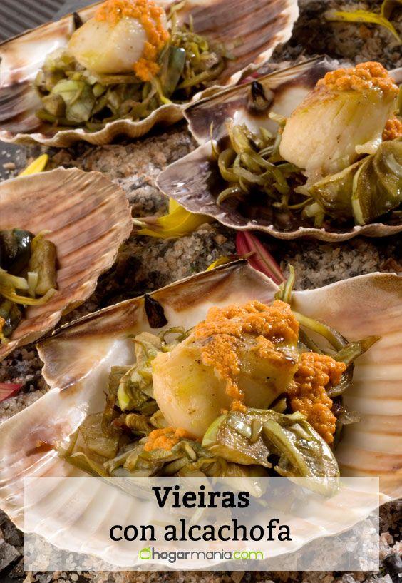 Receta de Vieiras con alcachofa