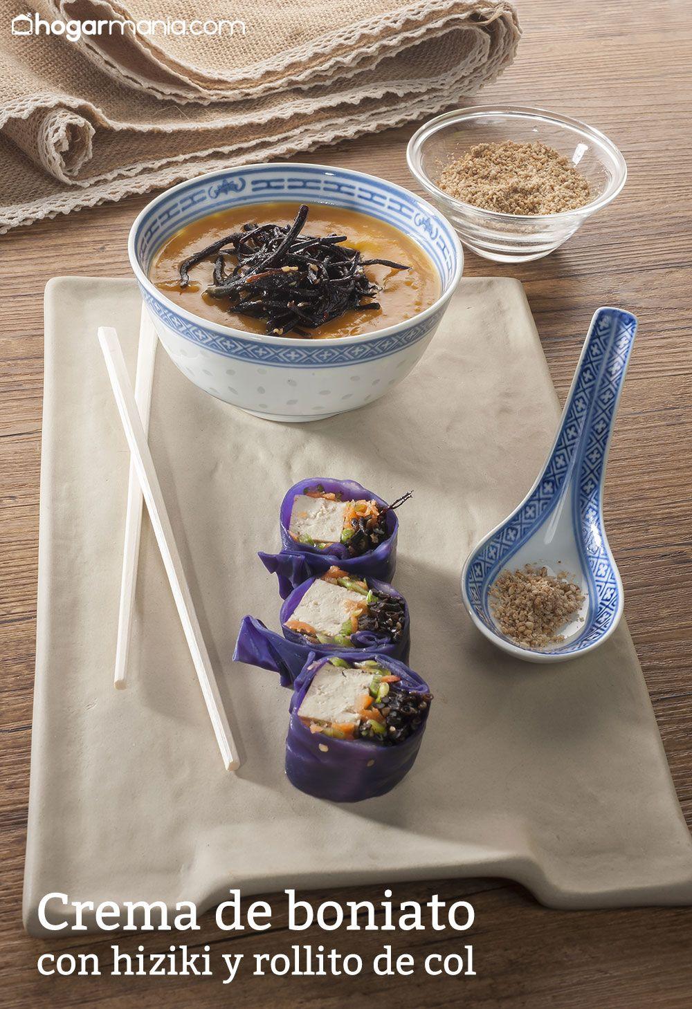 crema de boniato con hiziki y rollito de col