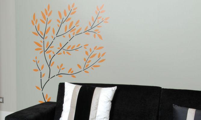 C mo pintar un rbol en la pared con plantillas decogarden - Plantillas para la pared ...