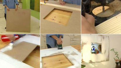 C mo hacer cuadros con elementos naturales decogarden for Como hacer un espejo con marco de madera