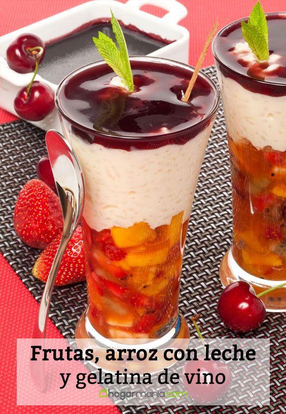 Receta de Frutas, arroz con leche y gelatina de vino