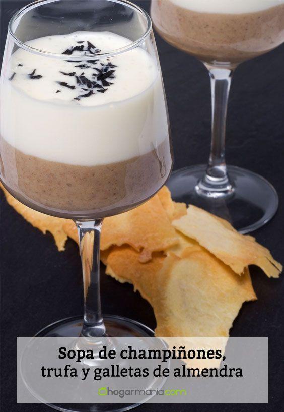 Receta de Sopa de champiñones, trufa y galletas de almendra crujiente
