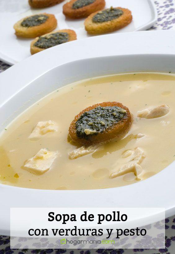 Receta de Sopa de pollo con verduras y pesto