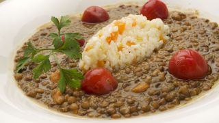 Receta de Lentejas con boniato y arroz