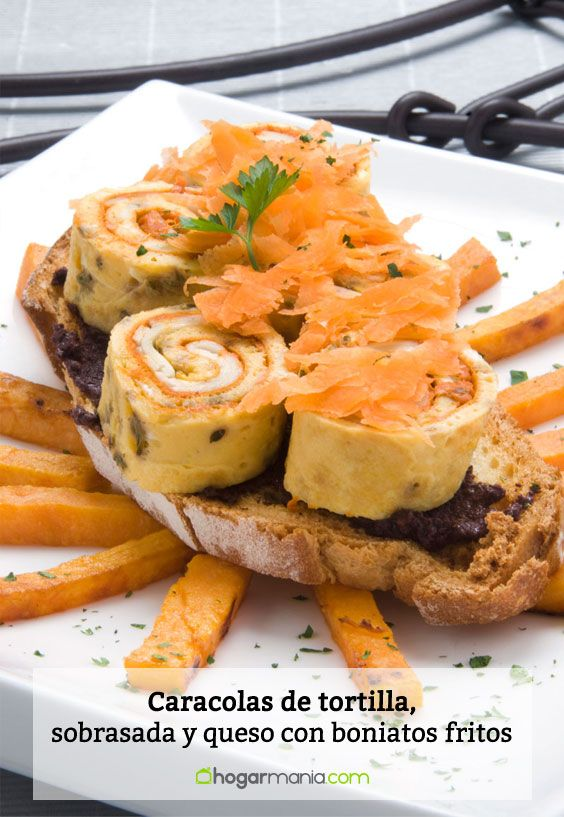 Receta de Caracolas de tortilla, sobrasada y queso con boniatos fritos