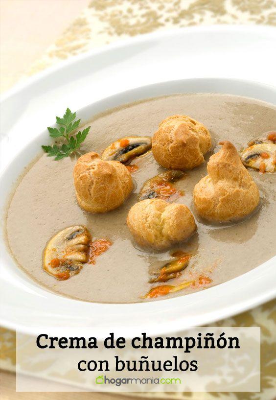 Receta de Crema de champiñón con buñuelos